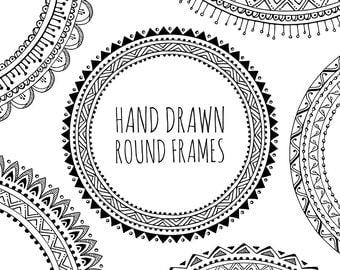 10 Hand Drawn Decorative Round Frames, Circle Borders: Tribal, Boho, Geometric, Abstract Doodle; Digital Frames Clipart, Black