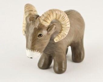 Big Horned Sheep Miniature - Ram Animal Totem - Polymer Clay - Handmade
