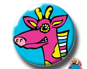 Pink Giraffe Badge, Giraffe Pin, Giraffe Button, Pinback Button, Pin, Pin Badge, Pin Badges, Badges, Button, Buttons,Button Badges, Pins.