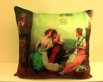 Fine Art Print Green Silk Decorative Cushion Pillow Cover