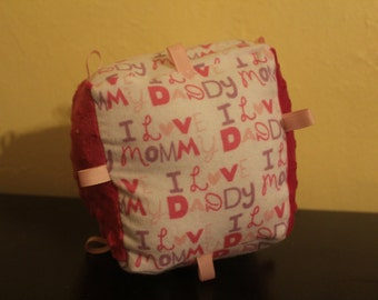 Baby block,fabric baby block,i love mommy,pink,rattle and crinkle toy