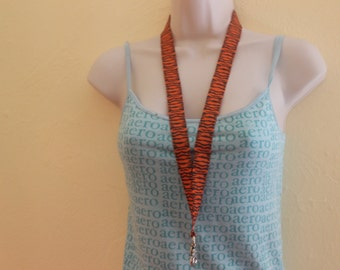 Orange and black tiger stripe ribbon lanyard/id/badge holder