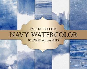 Watercolor Digital Paper - navy watercolor, painted digital paper, pastel blue ombre watercolor background scrapbooking, wedding invitations