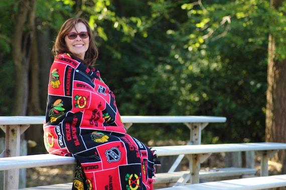 Chicago Blackhawks Fleece Blankets, Blackhawks Blanket, NHL Throw Blanket, NHL weighted blankets, Blackhawks plaid fleece fabric