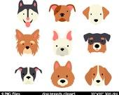 Dog Breeds clipart   Dog Face Clipart   Husky Clipart   Bulldog Clipart   Dog Clipart
