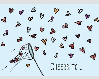 Flying Hearts • Wedding card