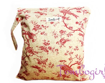 Waterproof bag / Wet Bag Medium size Australian made, zip, with snap open strap – Cream Bird