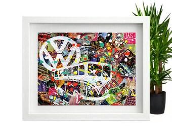 Volkswagen Bus, volkswagen wall art, volkswagen decor, Mixed Media collage art, bohemian decor, vw bus