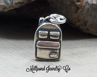 Backpack Charm, Backpack Pendant, School Charm, Teacher Charm, Student Charm, Sterling Silver Charm, Teacher Appreciation