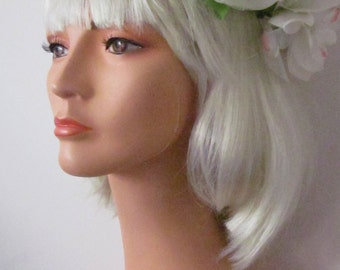 1950,s hand made silk flower halo/circlet in pastel shades of silk