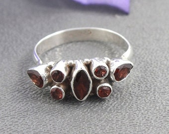 Sell On Garnet Ring - Designer Natural Garnet ring - Red Gemstone cut ring - January birthstone - Sterling silver ring - Gift for her, R/33/