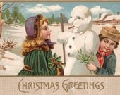 Vintage 1909 Christmas postcard boy girl snowman digital download printable image