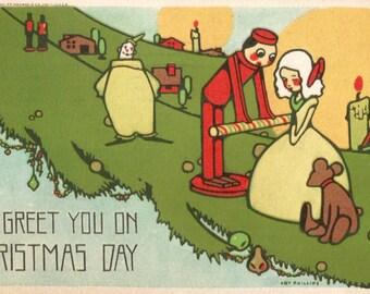 Antique Christmas toys postcard digital download printable image
