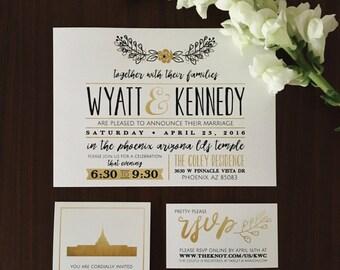 modern gold lds wedding invite
