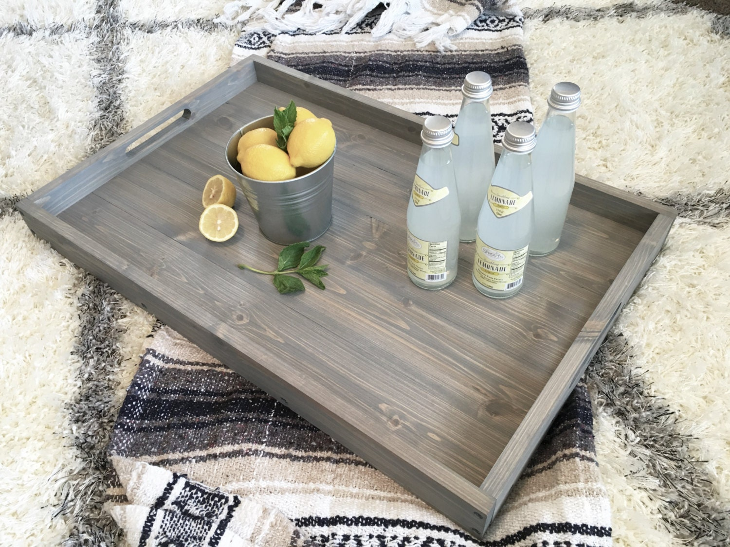 Rustic Wooden Ottoman Tray Ottoman Tray Wooden Tray