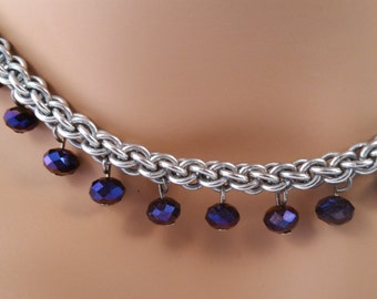 Jens PIND chainmail necklace with deep purple crystals, Chain mail necklace, chain maille necklace, chainmail necklace