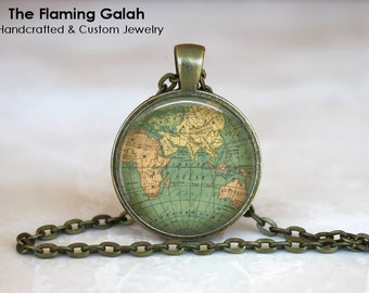 WORLD MAP Pendant • Vintage World Map • Old World Map • World Globe • Vintage World Globe • Gift Under 20 • Made in Australia (P0440)