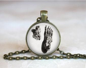 FOOT BONES Pendant •  Human Foot •  Human Feet •  Gothic Anatomy •  Steampunk Anatomy • Gift Under 20 • Made in Australia (P0564)