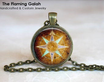 COMPASS ROSE Pendant • Vintage Compass • Leaving Gift • Going Away Gift • Traveller • Adventure • Gift Under 20 • Made in Australia (P0779)