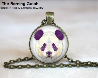 PANDA FACE Pendant •  Geometric Panda •  Panda Face •  Panda Jewellery •  Gift for a Panda Lover • Gift Under 20 • Made in Australia (P0311)