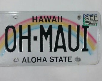 Oh Maui personalized Hawaii license plate car tag rainbow sign