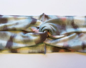Gray Watercolor turban headband