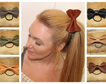 Leather Bow Hair Accessory, Leather Hair Tie, Bow Pony Tail,