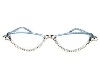 Spotted! - Blues (Reading Glass Eye Glasses with Swarovski Rhinestones)