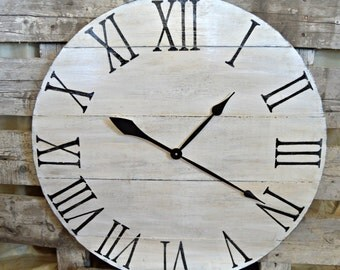 """30"""" Large Oversized Distressed Wood Wall Clock-Cream with Black Roman Numerals"""