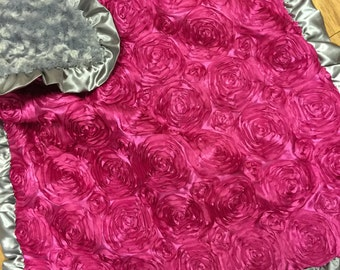 Satin Rosette Baby Blanket. Several Colors Available. Fuchsia