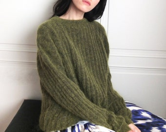 ribbed knit sweater  (olive green is out-of-stock, other knit pattern/colours available)