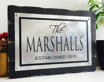 Family Established Sign Wood And Metal Established Sign Rustic Wood Family Name Sign