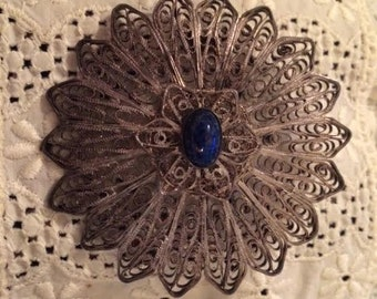 Stunning Antique Vintage Signed Birmingham Ornate Silver Filigree and Lapis Lazuli Brooch