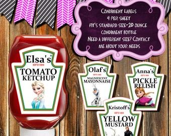 FROZEN CONDIMENT LABELS-Elsa-Anna-Olaf-Kristoff Ketchup-Relish-Mustard-Mayonnaise Labels-Frozen Ketchup-Mustard-Relish-Condiment Labels-tags