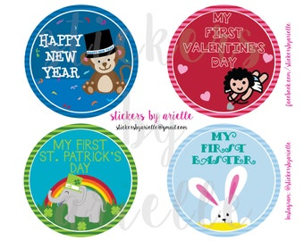 Baby's First Holiday Milestone Sticker Set