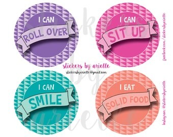 Baby Girl Milestone Stickers - Geo Theme