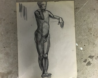"Charcoal Figure Sketch | Male Nude Life Study | Study 16 x 20 | Seated Nude | ""No Face 03"""