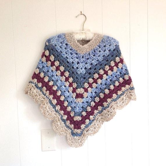 Crochet shawl Crocheted poncho Petite women shawl Retro