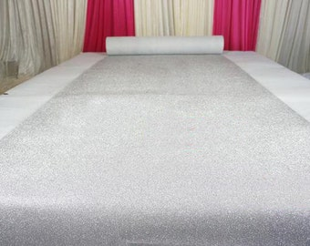 Silver Glitter Leather Fabric For Wedding Aisle Runner,Stage Runner,Width 3/3.5/4/4.5 feet,Sold By 15 feet