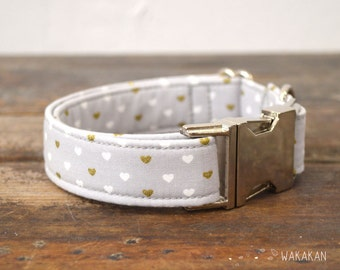 Grey Hearts dog collar. Adjustable and handmade with 100% cotton fabric. Hearts gold and white. Wakakan
