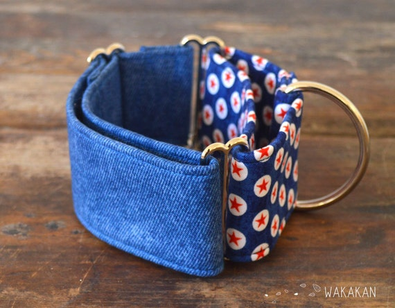 Martingale dog collar model Born in the USA. Adjustable and handmade with 100% cotton fabric. Boho native pattern Blue star Wakakan