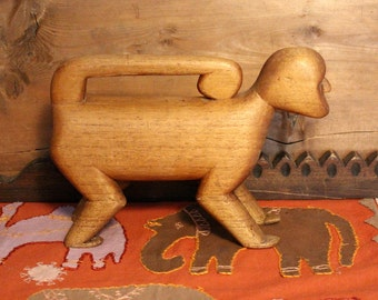 Carved Wood Modern Mod Figural Monkey Mid Century Impressionistic