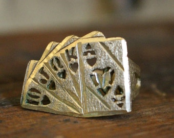 Vintage Playing Cards Brass Ring Royal Flush Hearts Size 10 1/2