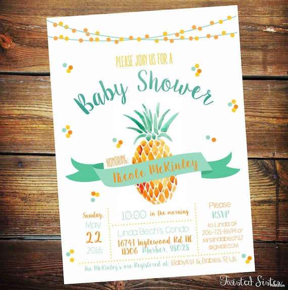 Pineapple Invitation Pineapple Baby Shower Invitation Pineapple