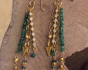 Emerald and Swarovsky crystal earrings