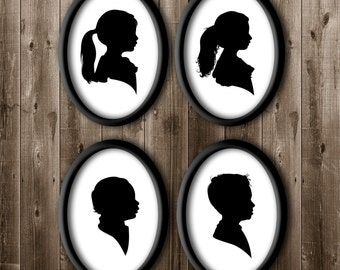 4 Traditional Profile Silhouettes, Siblings Silhouettes, Silhouette from your photo, Kids Room Decor, Silhouette Art, Silhouette Portrait.