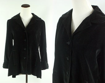 60s/ 70s Black Velvet Edwardian Jacket