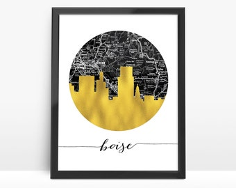 Boise Skyline, Faux Gold Foil Art,Black and White Map,Boise  map,Modern Home Decor,NO,900