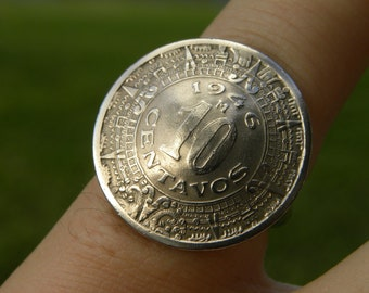 Tribal Ring Aztec calendar Mexican 10 centavos coins sterling silver 925 plated  band 8 to 14 size handcrafted