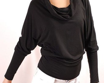 Eco-friendly Chunky Cowl super long neckline, batwing dolman long sleeve blouse top shirt in 28 colors